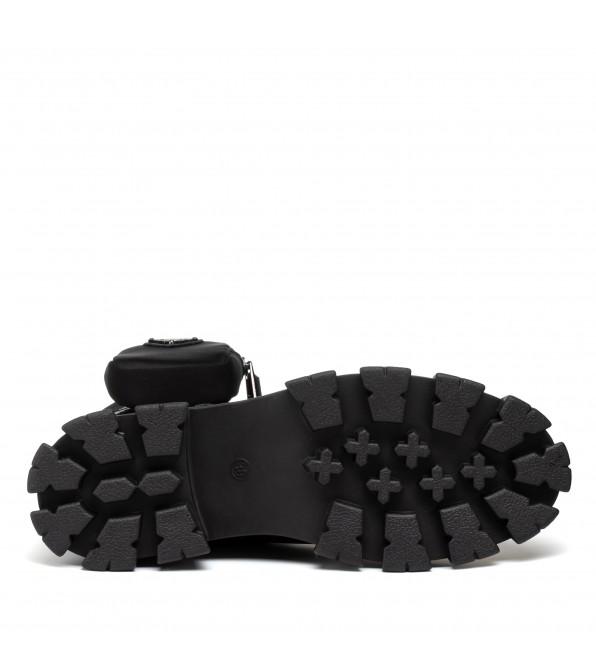 Ботинки женские черные на платформе Oeego