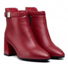 Ботильоны женские красные кожаные с ремешком Mantyyra