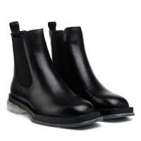 Ботинки женские черные кожаные на низком ходу Polann