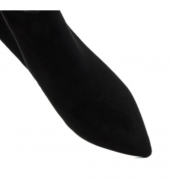 Ботильйони замшеві чорні на шпильці гострий носик класичні Lady marcia