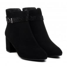 Ботильоны женские черные замшевые на каблуке Velly