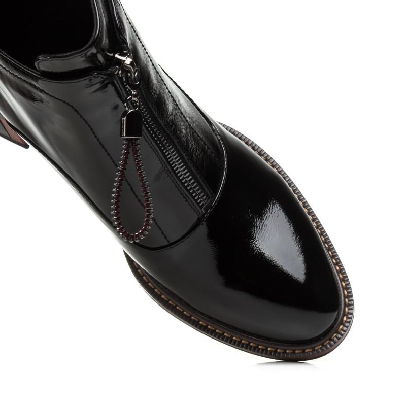 Черевики жіночі шкіряні чорні на товстому каблуку My classic