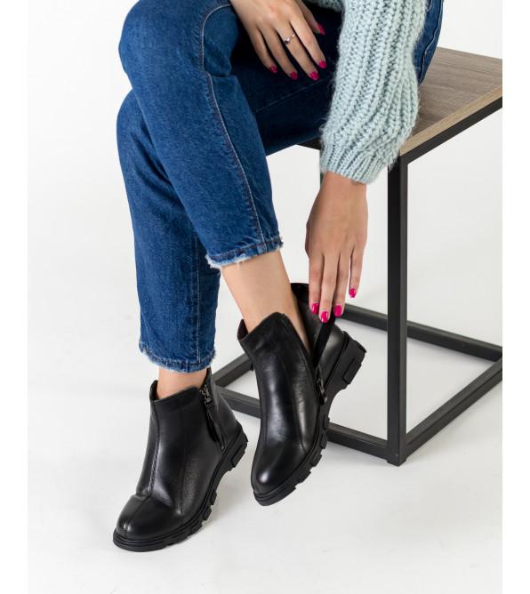 Черевики жіночі шкіряні чорні на платформі Meegocomfort