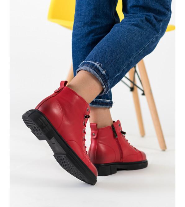 Черевики жіночі червоні на низькому ходу Meegocomfort