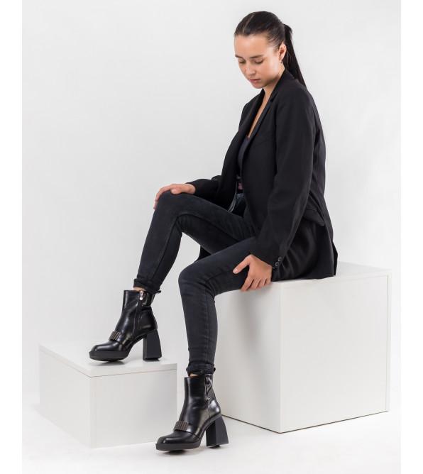 Ботильйони жіночі чорні на каблуці Brocoli