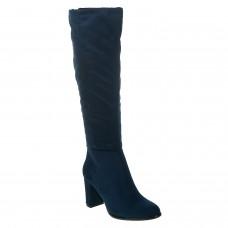 Сапоги синие замшевые на каблуке Sergio Leone
