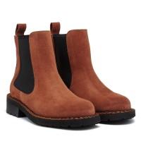 Ботинки женские замшевые демисезонные коричневые