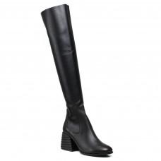 Ботфорты Lottini кожаные на удобном каблуке черные