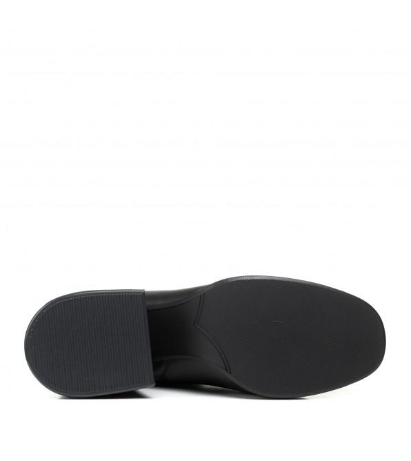 Ботфорти Lottini шкіряні на зручному каблуці чорні