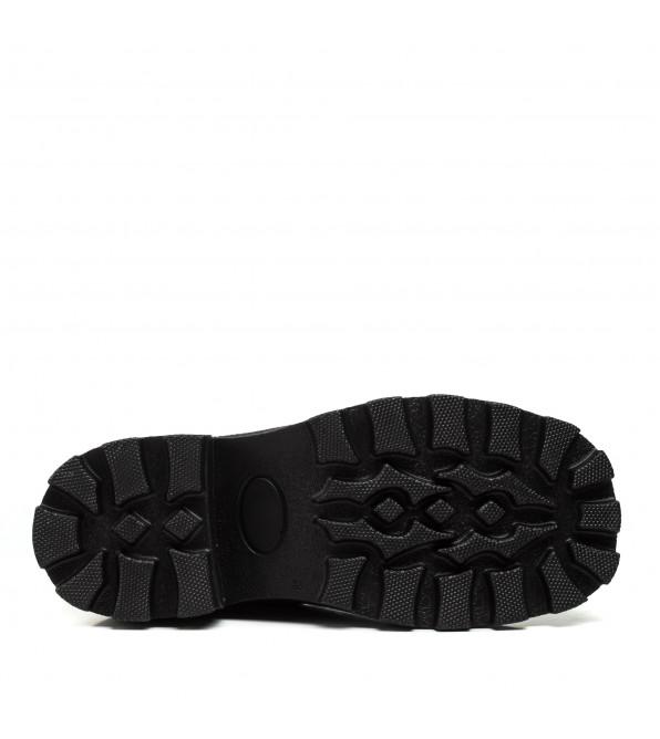 Черевики жіночі шкіряні чорні на товтому каблуці Phany