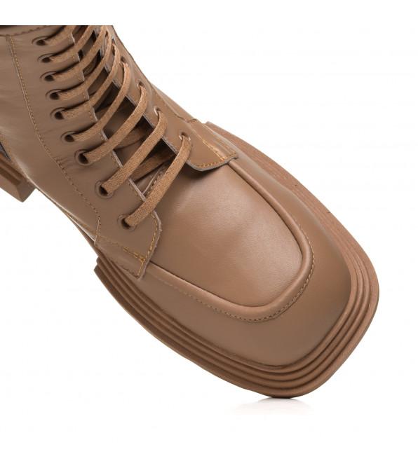 Черевики жіночі шкіряні на шнурівках коричневі Guero