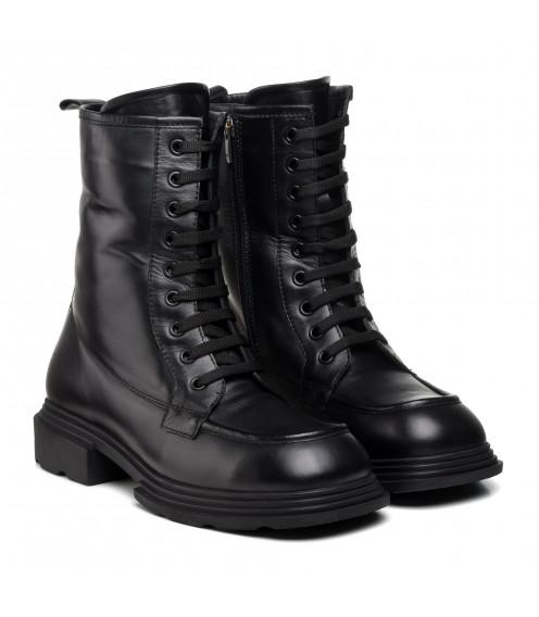 Черевики жіночі шкіряні чорні на шнурівках Guero