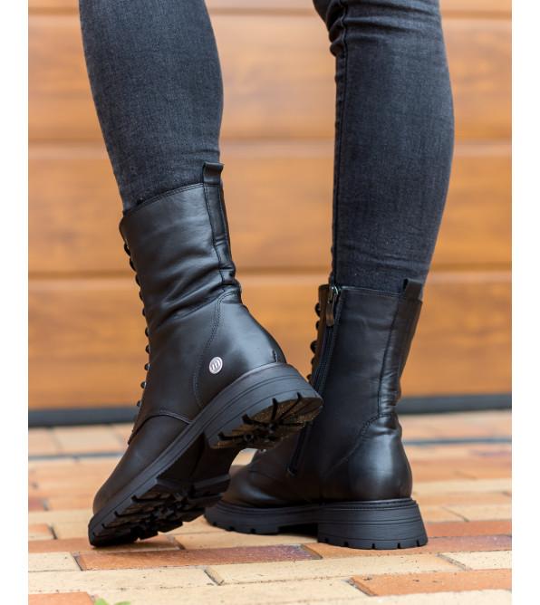 Черевики жіночі шкіряні демісезонні на шнурівці Mamammia