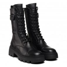 Ботинки женские черные на шнурках кожаные MOLLY BESSA