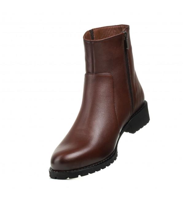 Черевики жіночі шкіряні коричневі на низькому каблуку Аltura