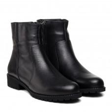Ботинки женские кожаные черные на низком каблуке Аltura
