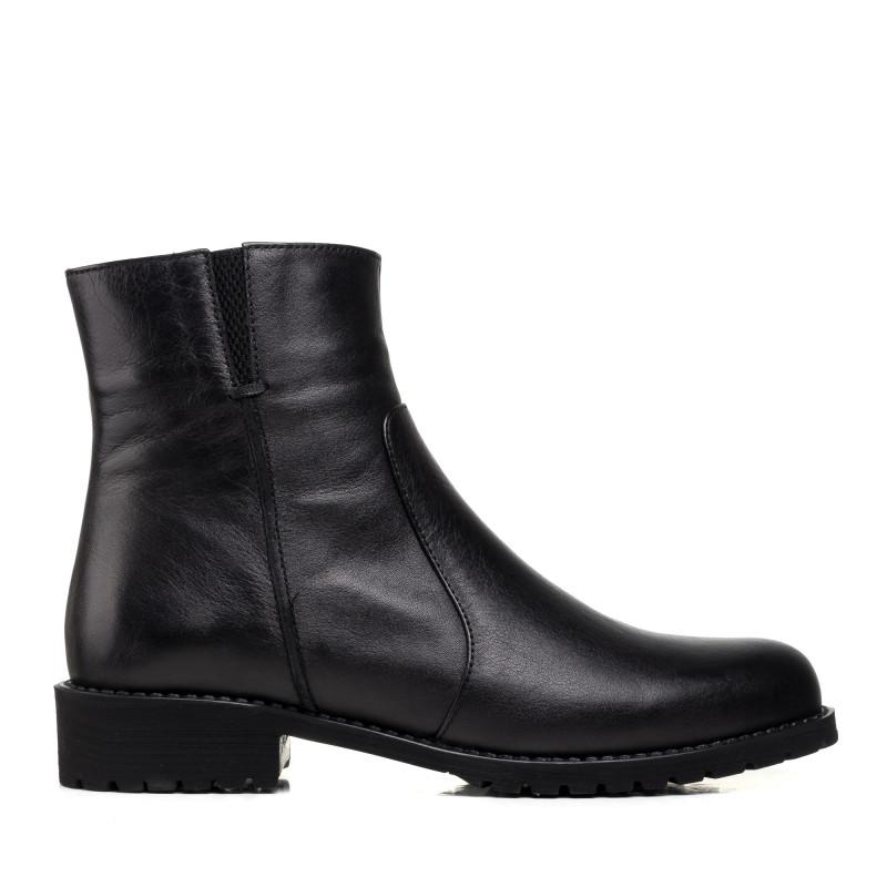 Черевики жіночі шкіряні чорні на низькому каблуку Аltura