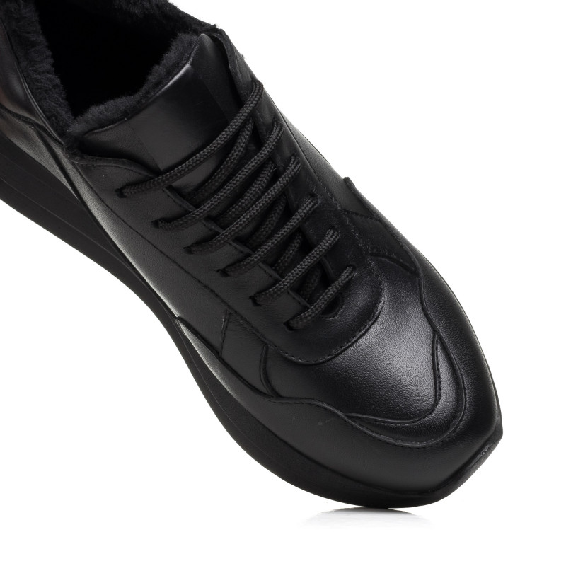 Кросівки жіночі чорні шкіряні теплі Mario muzi