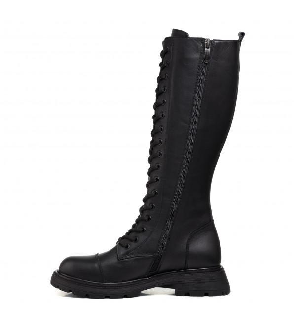 Черевики високі чорні на шнурівках чорні шкіряні