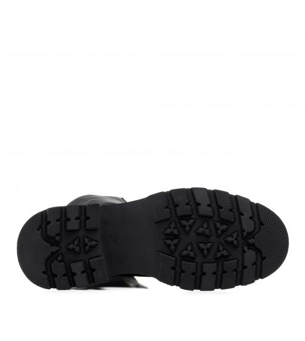 Черевики шкіряні на шнурках чорні на тракторній підошві Aquamarin