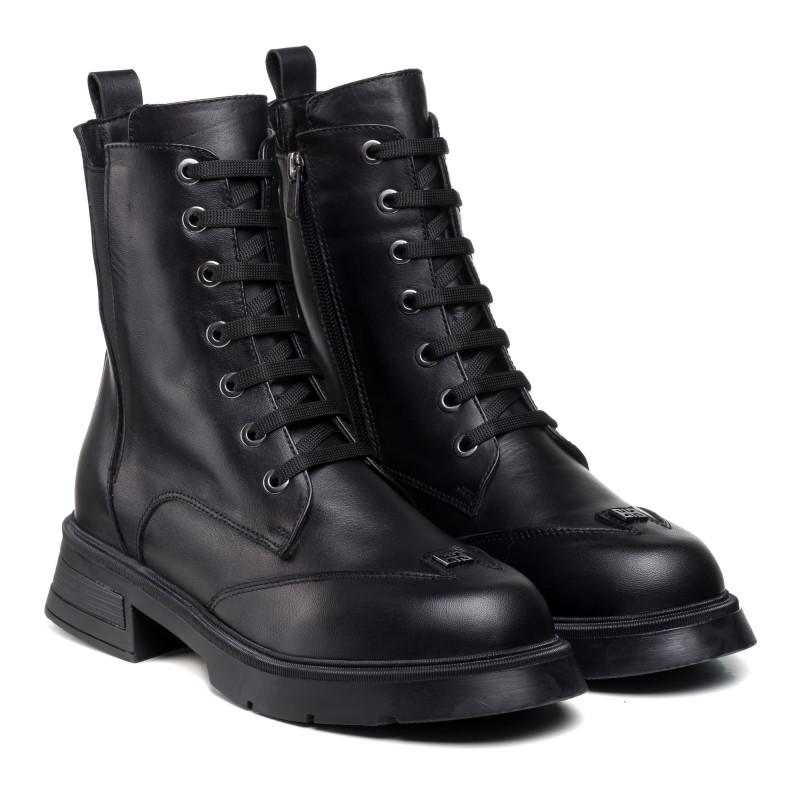Черевики шкіряні на шнурках чорні на зручній підошві Aquamarin