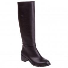 Сапоги женские черные на среднем каблуке черные с натуральной кожи