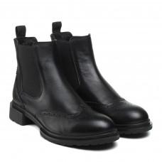 Черевики Corsovito чорні шкіряні на зручному каблуку оксфорди