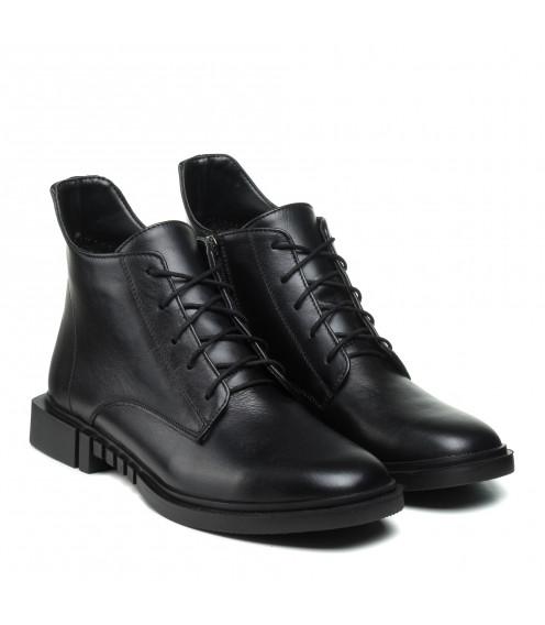 Черевики Zlett чорні шкіряні на шнурівках на зручному  каблуку