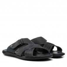Шлепанцы кожаные серые Dan-shoes