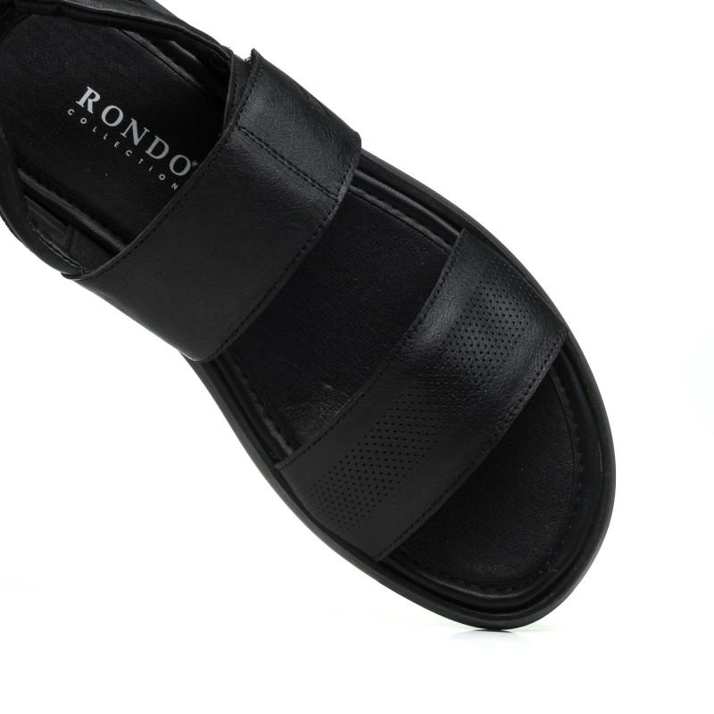 Сандалі чоловічі шкіряні чорні Rondo