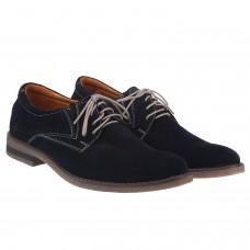 Туфли мужские замшевые синие на шнурках Zlett