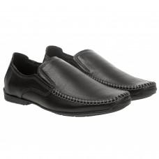 Мокасины мужские кожаные черные Konors