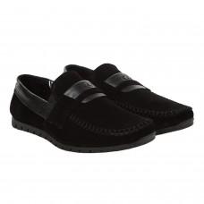 Мокасини чоловічі замшеві чорні Dan-shoes