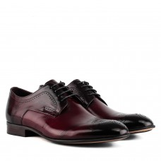 Туфлі чоловічі шкіряні бордові з перфорацією Cosottinni