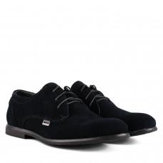 Туфлі чоловічі замшеві сині на шнурівках