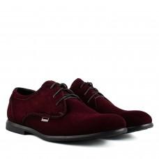 Туфлі чоловічі замшеві бордові на шнурівках