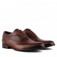 Туфли мужские кожаные коричневые удобные TAPI на шнуровке