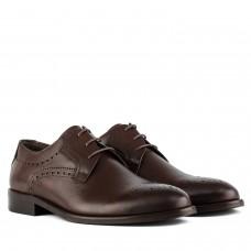 Туфли мужские кожаные коричневые элегантные на шнуровке стильные Badura