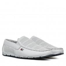 Мокасины мужские кожаные белые DanShoes в дырочки на белой подошве