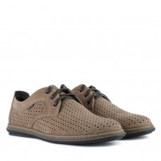 Туфлі з нубука світло коричневі в дирочки на шнурівках
