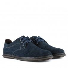 Туфлі чоловічі нубукові сині з перфорацією Detta на шнурівках в дирочки