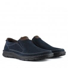 Туфлі чоловічі нубукові сині Detta в дирочки