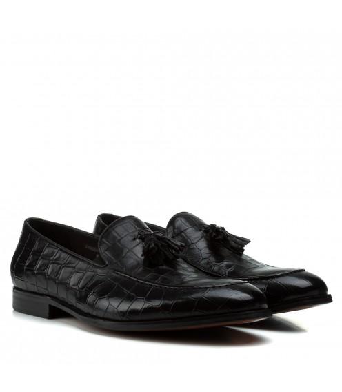 Туфлі чоловічі Cosottinni з натуральної шкіри чорні шкіра змії