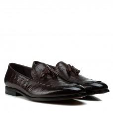 Туфли мужские кожаные коричневые с иммитацией кожы рептилии Cosottinni