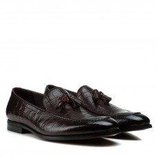 Туфлі чоловічі шкіряні коричневі з імітацією шкіри рептилії Cosottinni
