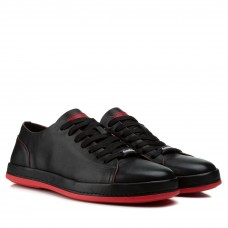Кеды мужские кожаные черные с красной подошвой Cosottinni