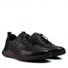 Кроссовки мужские Boss Victor черные на шнурках кожаные стильные