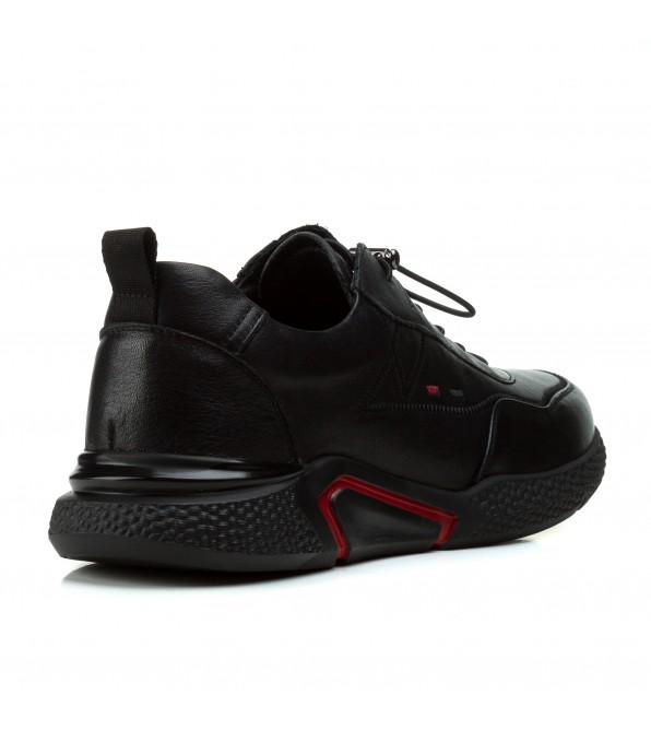 Кросівки чоловічі Boss Victor чорні на шнурівках шкіряні стильні