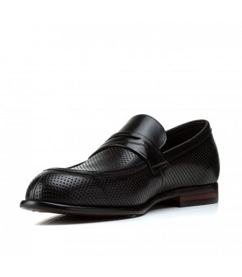 Туфлі чоловічі Boss  Victor чорні в дирочку стильні