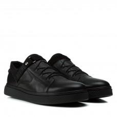 Кеды мужские кожаные повседневные Zummer стильные черные на шнуровке